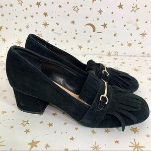 BP | Molley Black Suede Fringe Heeled Loafers 7.5